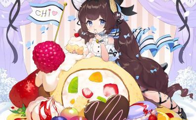 Cake cute original anime girl