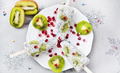 Kiwifruit, slices, ice candies