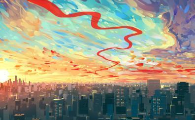 Clouds cityscape buildings art
