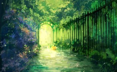 Gate, garden, iron fence, greenery, artwork