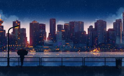 A rain night, buildings, night, cityscape, art