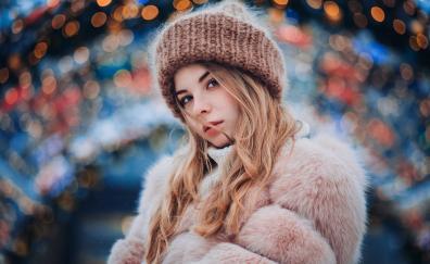 Beautiful portrait girl model bokeh