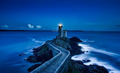 Lighthouse, France, landmark, night, coast, sea