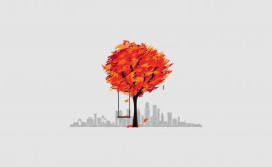 Cityscape tree swing digital art minimal