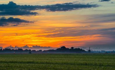 Skyline clouds dawn landscape 4k