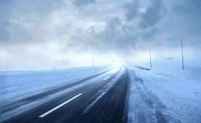 Winter storm road landscape