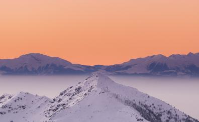 Sunset, minimal, glacier, peaks, mountains