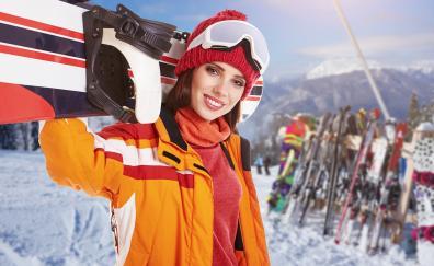 Snowbording sports girl model