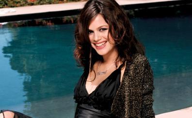 Pretty smile, Rachel Bilson, black dress