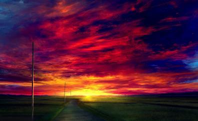 Sunset road landscape anime