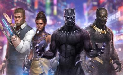 Black panther marvel fight cast art