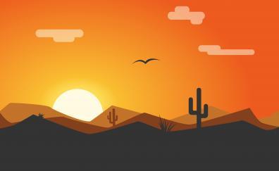 Sunset desert minimal 4k