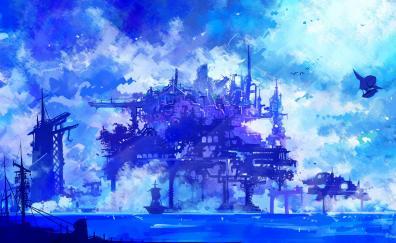 Cyber city, anime, cyberpunk, artwork