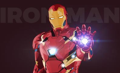 Iron man, digital art, minimal, superhero