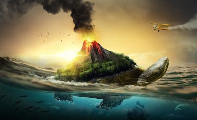 Volcano turtle fantays art