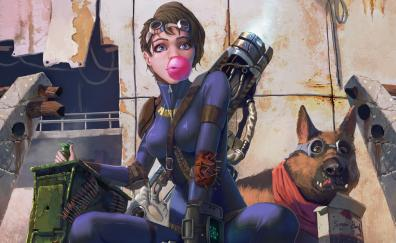 Fallout video game girl and dog art