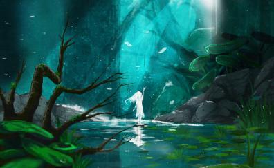 Lake, spirit, anime girl, original, fantasy