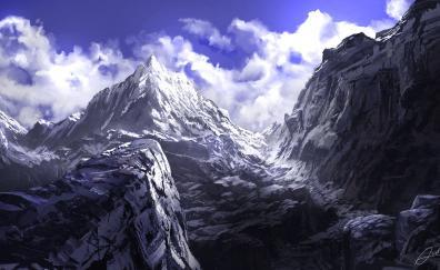 Anime, mountains, summit, art