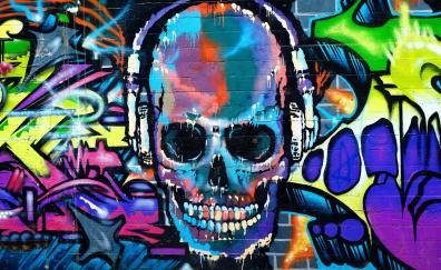 Graffiti skull colorful