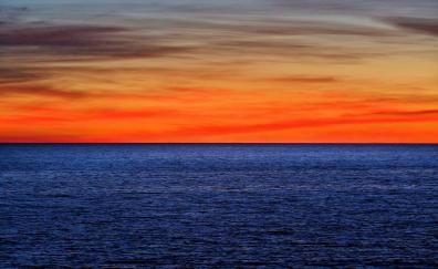 Skyline sunset sky sea nature 4k