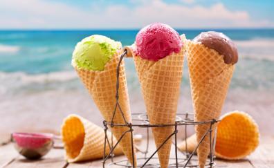 Ice cream, waffle cones, summer