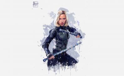 Black widow, Avengers: infinity war, artwork, 2018