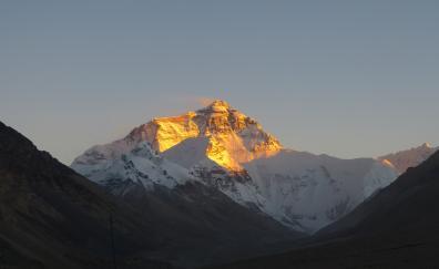 Dawn, sunlight, glowing, mountain's peak