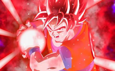 Red, ultra instinct, anime, goku, 2018