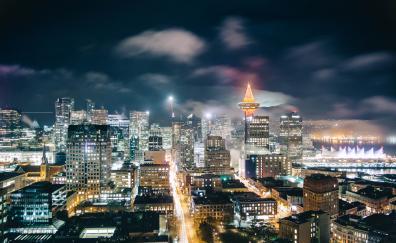 Canada, city, night, cityscape, Vancouver