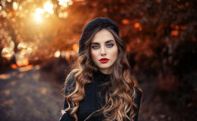 Outdoor red lips brunette woman