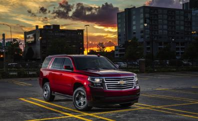 Red, suv, Chevrolet Tahoe, front