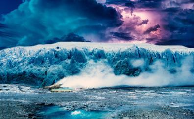Photoshop, iceberg, glacier, clouds, landscape