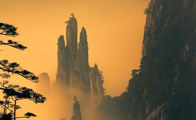 Huangshan mountains blur dusk