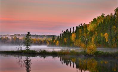 Autumn landscape lake tress nature