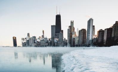 Winter, cityscape, frozen coast, lake, buildings