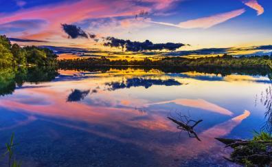 Lake sunset reflections nature 5k