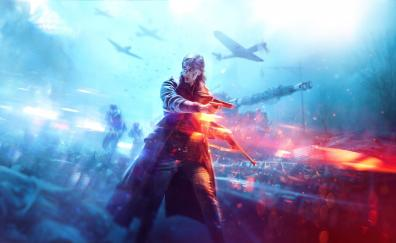 Battlefield v video game woman soldier