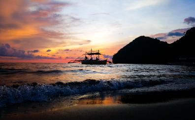 Boat, beach, sunset, sea waves, skyline