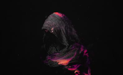 Woman, hood, dark, art