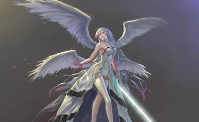 Angel with sword white hair dungeon fighter online