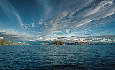 Blue sky water sea nature