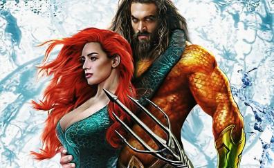 Aquaman, Amber Heard, Jason Momoa, art, movie