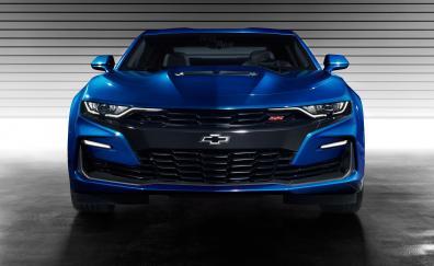 Blue Chevrolet camaro ss, front, 2019