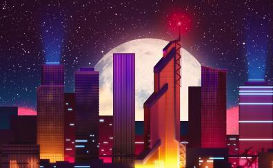 Moscow skyscrapers retro neon moon 4k