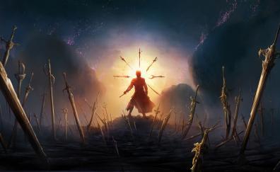 Swords, fantasy, warrior, art