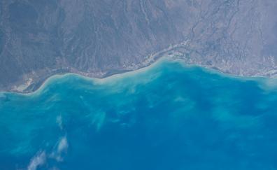 Coast landscape blue sea nature aerial view 5k