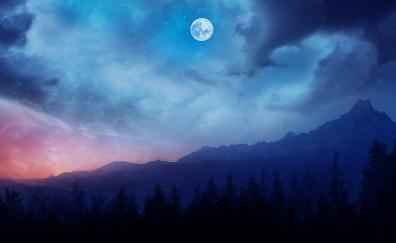 Mountains night fantasy clouds