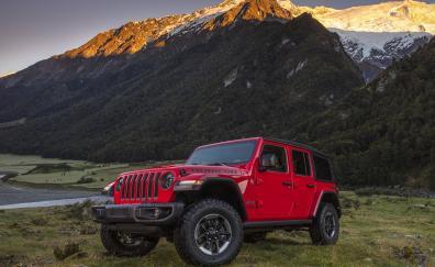 Red 4x4 jeep wrangler