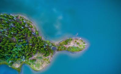Island aerial view nature sea