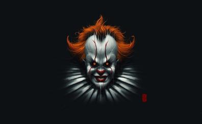 Clown, face, creepy, minimal